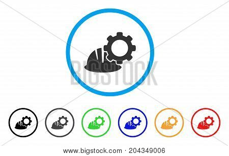 Helmet And Gear icon. Vector illustration style is a flat iconic helmet and gear gray rounded symbol inside light blue circle with black, gray, green, blue, red, orange color variants.