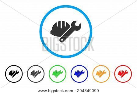 Helmet With Wrench icon. Vector illustration style is a flat iconic helmet with wrench gray rounded symbol inside light blue circle with black, gray, green, blue, red, orange color versions.
