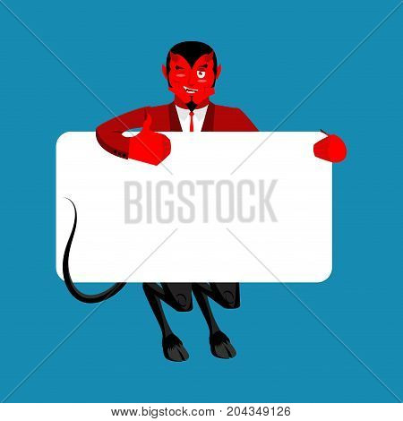 Red devil holding banner blank. Satan and white blank. Demon joyful emotion. Boss of hell and place for text. Vector illustration