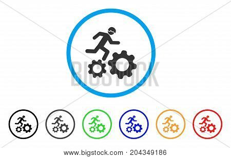 Running Developer Over Gears icon. Vector illustration style is a flat iconic running developer over gears grey rounded symbol inside light blue circle with black, gray, green, blue, red,
