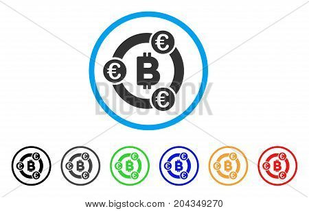 Bitcoin Euro Collaboration icon. Vector illustration style is a flat iconic bitcoin euro collaboration gray rounded symbol inside light blue circle with black, gray, green, blue, red,