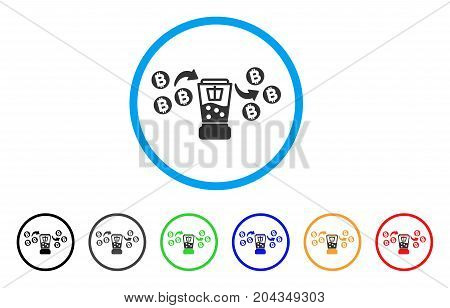 Bitcoin Mixing Service icon. Vector illustration style is a flat iconic bitcoin mixing service grey rounded symbol inside light blue circle with black, gray, green, blue, red, orange color variants.