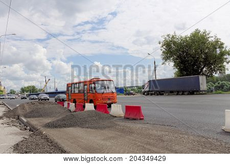 Nizhny Novgorod, Russia. - July 20.2017. Repair of the road surface in Lenin Square.