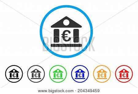 Euro Bank Museum icon. Vector illustration style is a flat iconic euro bank museum grey rounded symbol inside light blue circle with black, gray, green, blue, red, orange color additional versions.