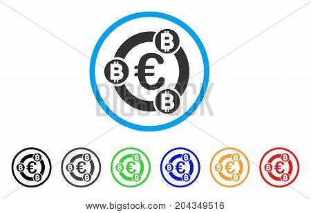 Euro Bitcoin Collaboration icon. Vector illustration style is a flat iconic euro bitcoin collaboration gray rounded symbol inside light blue circle with black, gray, green, blue, red,