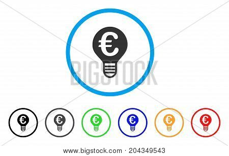 Euro Bulb icon. Vector illustration style is a flat iconic euro bulb gray rounded symbol inside light blue circle with black, gray, green, blue, red, orange color variants.