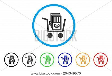 Euro Cash Out Cart icon. Vector illustration style is a flat iconic euro cash out cart gray rounded symbol inside light blue circle with black, gray, green, blue, red, orange color versions.