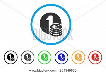 Euro Coin Column icon. Vector illustration style is a flat iconic euro coin column grey rounded symbol inside light blue circle with black, gray, green, blue, red, orange color versions.