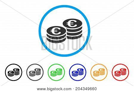 Euro Coin Stacks icon. Vector illustration style is a flat iconic euro coin stacks gray rounded symbol inside light blue circle with black, gray, green, blue, red, orange color versions.