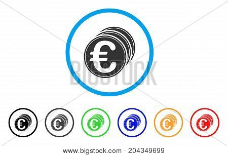 Euro Coins icon. Vector illustration style is a flat iconic euro coins grey rounded symbol inside light blue circle with black, gray, green, blue, red, orange color variants.