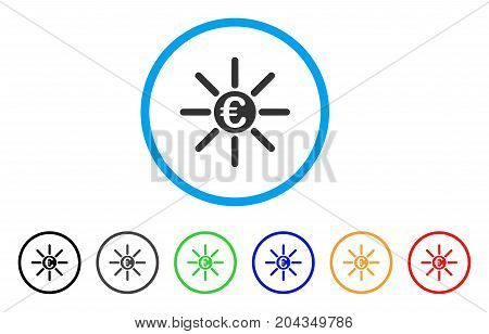 Euro Distribution icon. Vector illustration style is a flat iconic euro distribution grey rounded symbol inside light blue circle with black, gray, green, blue, red, orange color variants.