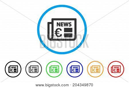 Euro Newspaper icon. Vector illustration style is a flat iconic euro newspaper grey rounded symbol inside light blue circle with black, gray, green, blue, red, orange color versions.