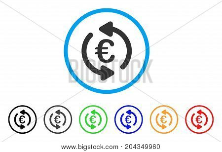 Euro Repeat Arrows icon. Vector illustration style is a flat iconic euro repeat arrows gray rounded symbol inside light blue circle with black, gray, green, blue, red, orange color versions.
