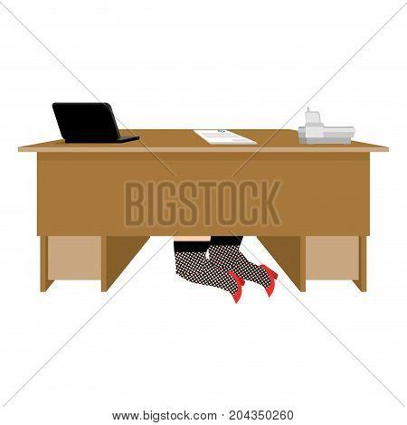 Prostitute under table. Whore is under office desk. Vector illustration