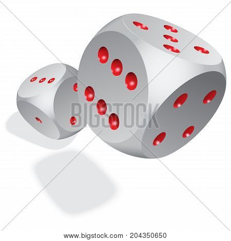 3D Dices with shadows on a white background. Stock illustration. EPS 10