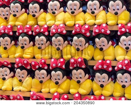 ORLANDO USA - AUGUST 20th 2017: Stacked shelf of Minnie Mouse plush toys in a shop. Florida USA