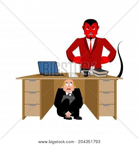 Businessman Scared Under Table Of Satan. Frightened Business Man Under Work Board. Take To Hell. Bos