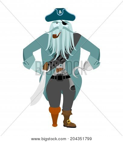 Captain Pirates Ghost. Mythical Angry Boss Buccaneer With Tentacles. Vector Illustration