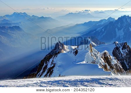 Mont Blanc scenery, Aiguille du Midi in the first sunlight of the morning