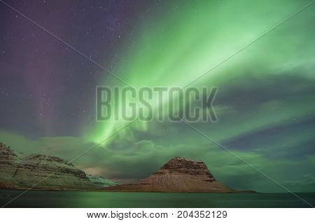 Northern Lights in Iceland in a cold winter night