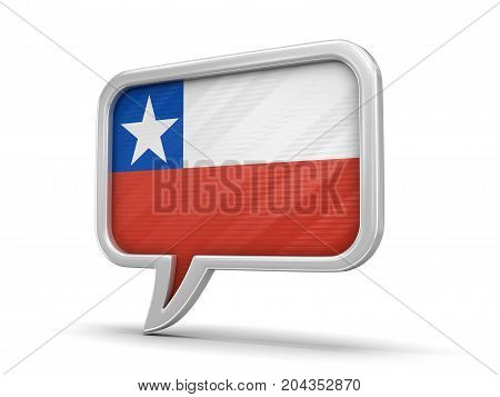 3d Illustration. Speech bubble with Chilean flag. Image with clipping path