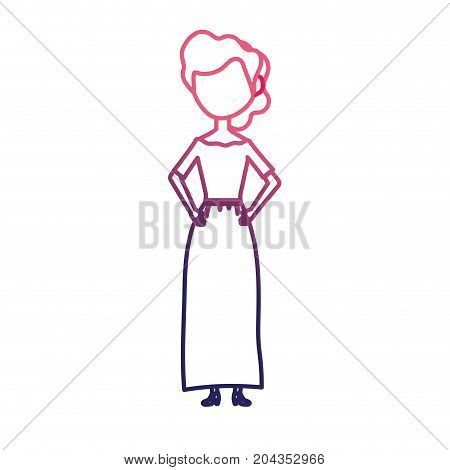 line happy bride with hairstyle and elegant gown vector illustration