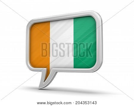 3d Illustration. Speech bubble with Cote d'ivoire flag. Image with clipping path