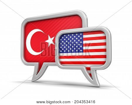 3d Illustration. Speech bubbles with USA and Turkey flags. Image with clipping path