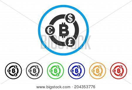 International Bitcoin Collaboration icon. Vector illustration style is a flat iconic international bitcoin collaboration grey rounded symbol inside light blue circle with black, gray, green, blue,