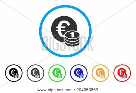 One Euro Coin Stack icon. Vector illustration style is a flat iconic one euro coin stack grey rounded symbol inside light blue circle with black, gray, green, blue, red,