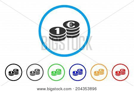 One Euro Coins icon. Vector illustration style is a flat iconic one euro coins grey rounded symbol inside light blue circle with black, gray, green, blue, red, orange color versions.