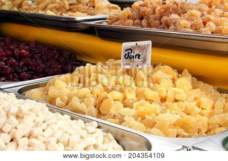 Dried fruit for sale on a French market including