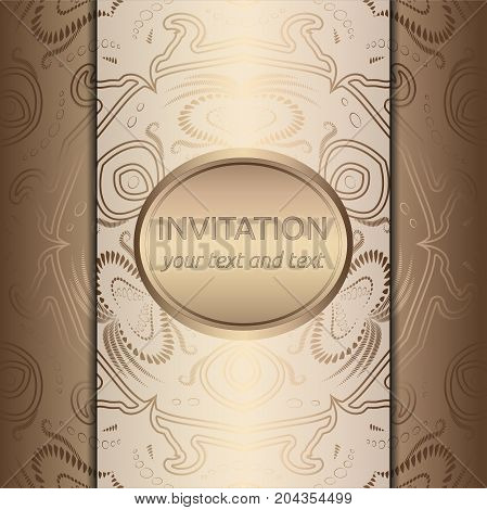 Vector Invitation card with golden classic royal ornaments in white and gold. Square card layout with rich golden pattern on white. Isolated. Template for save the date, banner, brochure, poster.