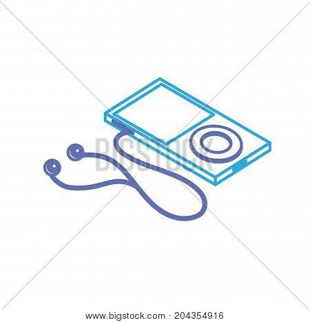 line technology mp3 with headphones to listen to music vector illustration