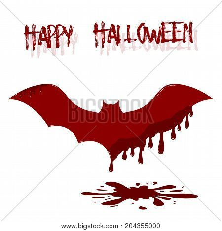 Vector bat illustration with dripping blood. Template of Happy Halloween card.