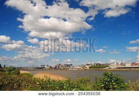 View over River Scheldt in Antwerpen, Belgium.