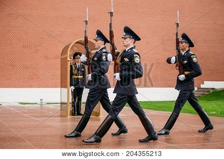 Moscow, Russia - May 24, 2015: Post honor guard at the Eternal Flame in Moscow at the Tomb of the Unknown Soldier Post number 1 in the Alexander Garden in Moscow close by Kremlin walls
