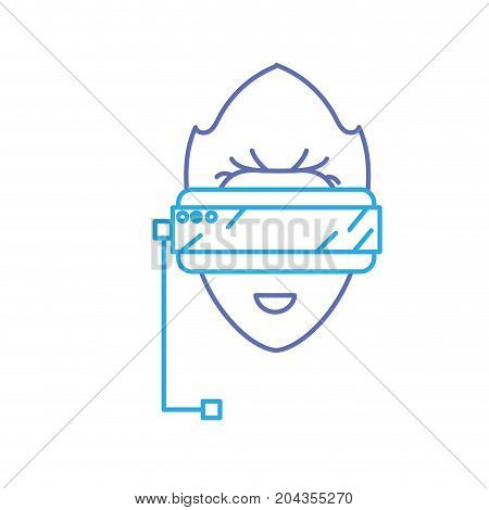 line boy face with 3d glasses to dimension experience vector illustration