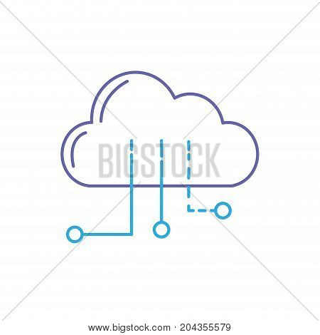 line cloud data with circuits to digital connection vector illustration