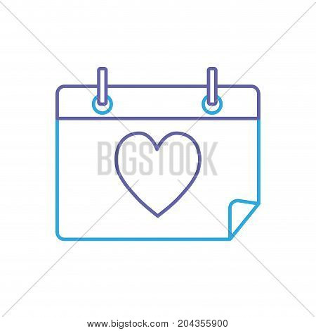 line calendar with heart to romantic special day vector illustration