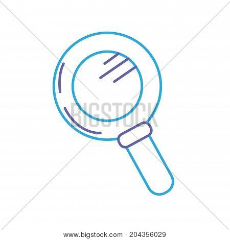 line magnifying glass tool to explore vector illustation