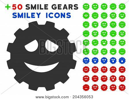 Funny Smiley Gear pictograph with bonus facial symbols. Vector illustration style is flat iconic elements for web design, app user interfaces.