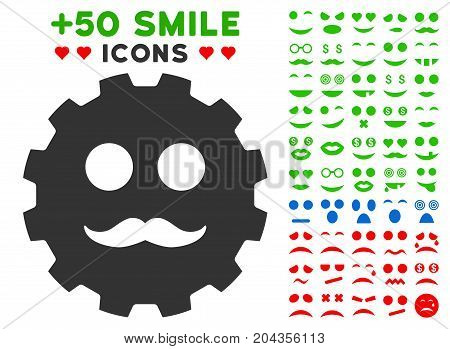 Gentleman Smiley Gear icon with bonus smiley design elements. Vector illustration style is flat iconic symbols for web design, app user interfaces.