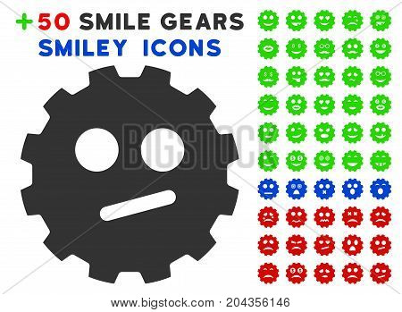 Indifferent Smiley Gear pictograph with bonus emotion pictograph collection. Vector illustration style is flat iconic symbols for web design, app user interfaces.