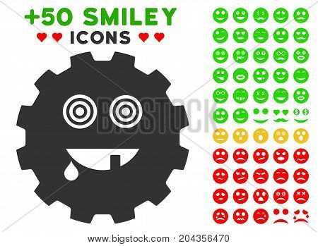 Maniac Smiley Gear icon with bonus smile pictograph collection. Vector illustration style is flat iconic elements for web design, app user interfaces.