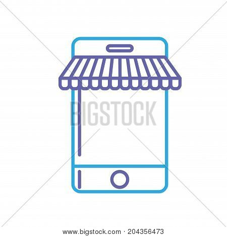line technology smartphone to business information vector illustration