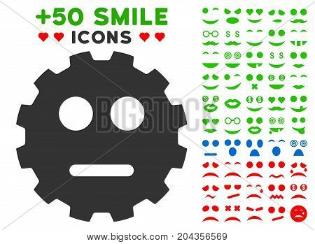 Neutral Smiley Gear pictograph with bonus emotion pictograph collection. Vector illustration style is flat iconic symbols for web design, app user interfaces.