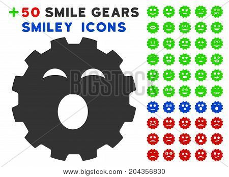 Sleepy Smiley Gear pictograph with bonus avatar images. Vector illustration style is flat iconic symbols for web design, app user interfaces.