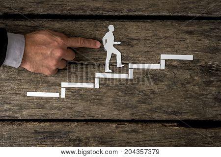 Businessman Climbing The Corporate Ladder