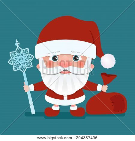 Santa Claus with a bag and crook stick. Cartoon character.Vector illustration